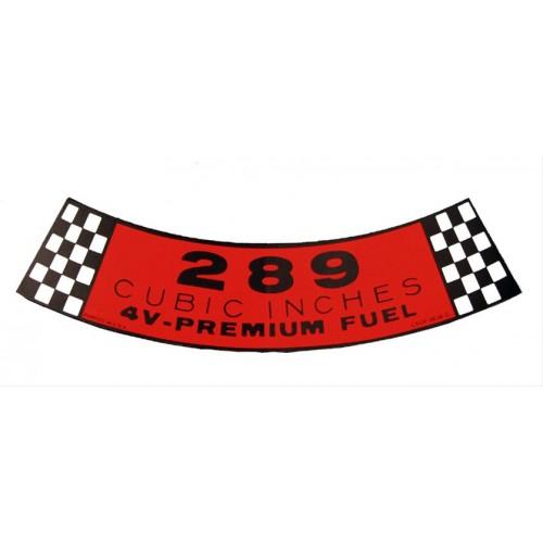 Sticker / Autocollant 289 - 4V pour boite / filtre à air