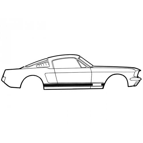 Kit autocollant / sticker de bas de caisse Mustang GT 1965-1966 coupé / Fastback / Cabriolet  NOIR